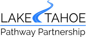 Logo for the Pathway Partnership. Text with a blue bike path